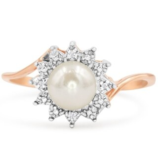 Round Freshwater Cultured Pearl and Halo Diamond Ring In 14 Karat Rose Gold - White