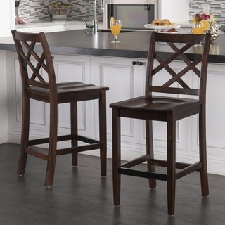 Lyam Acacia Wood Backed Counter Stool with Kickplate (Set of 2) by Christopher Knight Home