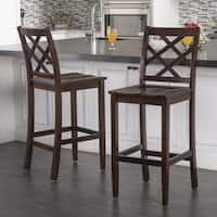 Lyam Acacia Wood Backed Barstool with Kickplate (Set of 2) by Christopher Knight Home