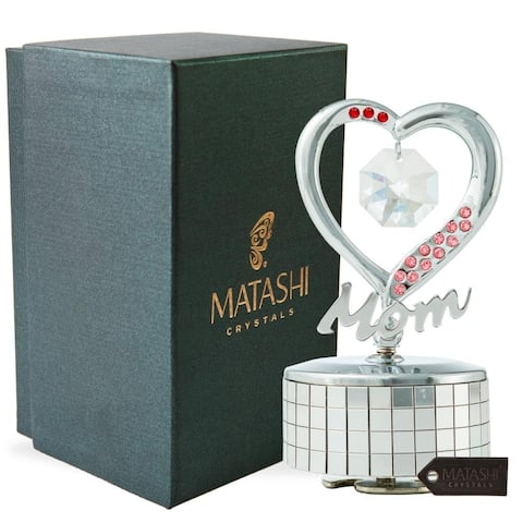 Mom Heart Wind-Up Music Box Table Top Ornament with Crystals by Matashi (Choose Gold or Silver)