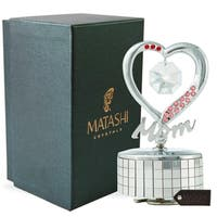 Chrome Plated Mom Heart Wind-Up Music Box Table Top Ornament with Crystals by Matashi- Love Story (Choose Gold or Silver)