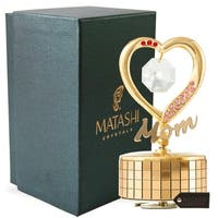 Mom Heart Wind-Up Music Box Table Top Ornament with Crystals by Matashi (Choose from Gold or Silver)