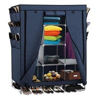 Portable Closet Wardrobe Clothes Shoe Rack Storage Organizer Blue