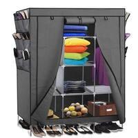 Portable Closet Wardrobe Clothes Shoe Rack Storage Organizer Gray