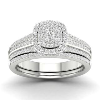 De Couer 10k Gold 1 2ct TDW Diamond Cluster Halo Engagement Ring Set
