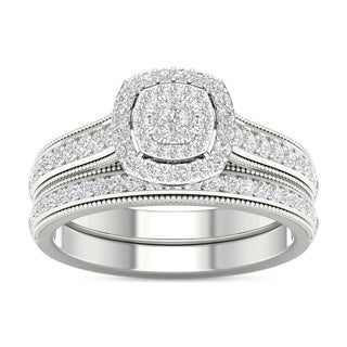 De Couer 10k Gold 1/2ct TDW Diamond Cluster Halo Engagement Ring Set (More options available)