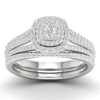 De Couer 10k Gold 1/2ct TDW Diamond Cluster Halo Engagement Ring Set