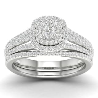 De Couer 10k Gold 1/2ct TDW Diamond Cluster Halo Engagement Ring Set