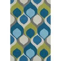 Addison Malia Bohemian Hourglass Blue Teal/Lime Area Rug (5' x 7'6)