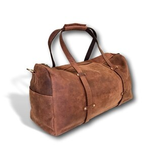 "Over-sized Leather Duffel Bag 24"" Overnight Weekend Shoulder Bag"