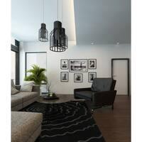 Addison Chase Night/Grey Artistic Spiral Plush Area Rug (5' x 7'6)