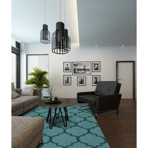 Addison Chase Cerulean/Teal Moroccan Trellis Plush Area Rug