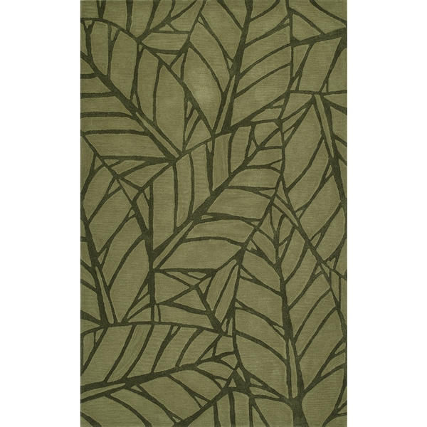 Addison Zenith Bold Leaf Olive Green Area Rug
