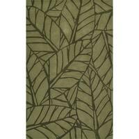 Addison Zenith Bold Leaf Olive Green Area Rug - 5' x 7'6