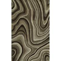 Addison Rugs Zenith Brown/ Ivory Contemporary Waves Area Rug (5' x 7'6)