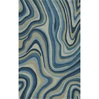 Addison Zenith Contemporary Waves Blue/Grey Wool Area Rug (5' x 7 6)