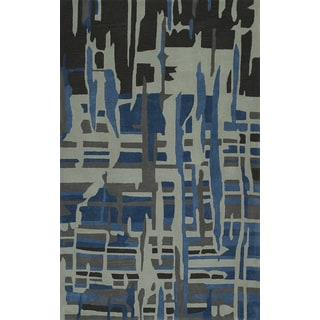 """ADDISON Zenith Artistic Abstract Gray/Blue Area Rug  (5'X7'6"""")"""