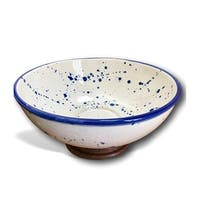 Handmade Blue & White Splatter Porcelain Bowl with Wood Base