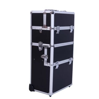 Pro Aluminum Rolling Makeup Cosmetic Train Case Wheeled Box Black