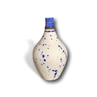 Handmade Modern Blue & White Ceramic Splatter Vase - Flower Vase and Decor Piece