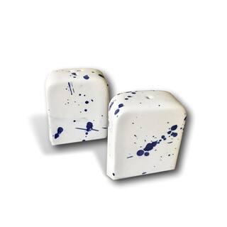 Handmade Modern Blue & White Splatter Ceramic Salt and Pepper Shakers