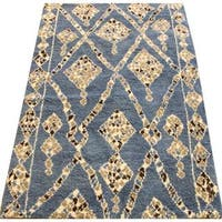 Arshs Moroccan Arya Maeve Blue/Ivory Wool Area Rug - 8' x 11'