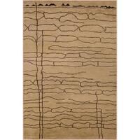 Arshs Moroccan Arya Earla Abstract Hand-knotted Tan/Dark Brown Wool Indoor Rectangular Rug - 8' x 11'