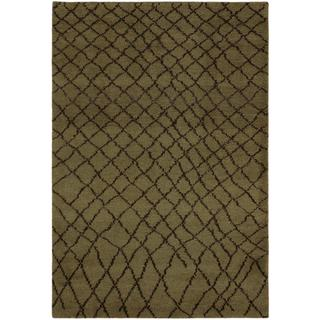 Arshs Moroccan Arya Ashlin Green/Dark Brown Wool Rug - 5' x 8'