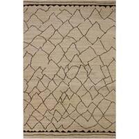Arshs Moroccan Arya Odon Tan/Dark Brown Wool Rug - 8' x 10'