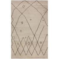 Arshs Moroccan Arya Riomata Ivory/Dark Brown Wool Rug - 8' x 10'