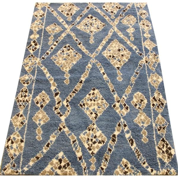 Shop Arshs Arya Maeve Moroccan Abstract Hand Knotted Blue