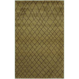 Arshs Arya Ashlin Moroccan Abstract Hand-knotted Green/Dark Brown/Gold Wool Indoor Rectangular Rug - 6' x 9'