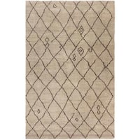 Arshs Moroccan Arya Cybil Light Tan/Dark Brown Wool Rug - 6' x 9'