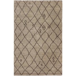 Arshs Moroccan Arya Cybil Tan/Dark Brown Wool Rug - 6' x 9'