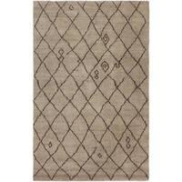 Arshs Moroccan Arya Cybil Tan/Dark Brown Wool Rug - 4' x 6'