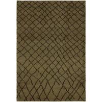 Arshs Moroccan Arya Ashlin Green/Dark Brown Wool Area Rug - 4' x 6'