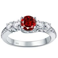 Orchid Jewelry 925 Sterling Silver Garnet & White Topaz Band Ring - Red