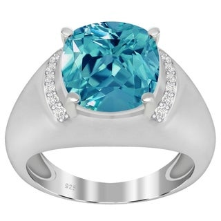 Sterling Silver Simulated Paraiba Tourmaline & Diamond Cushion Halo Ring - Blue