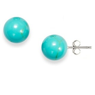 Sterling Silver Turquoise 8mm Ball Stud Earrings - Blue
