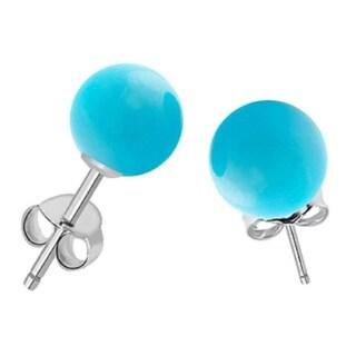 Sterling Silver Aquamarine 8mm Ball Stud Earrings - Blue
