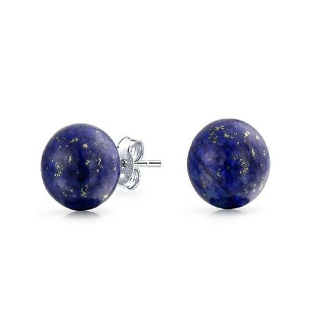 Sterling Silver Lapis 8mm Ball Stud Earrings - Blue