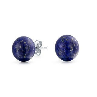 Sterling Silver Lapis 8mm Ball Stud Earrings - Blue