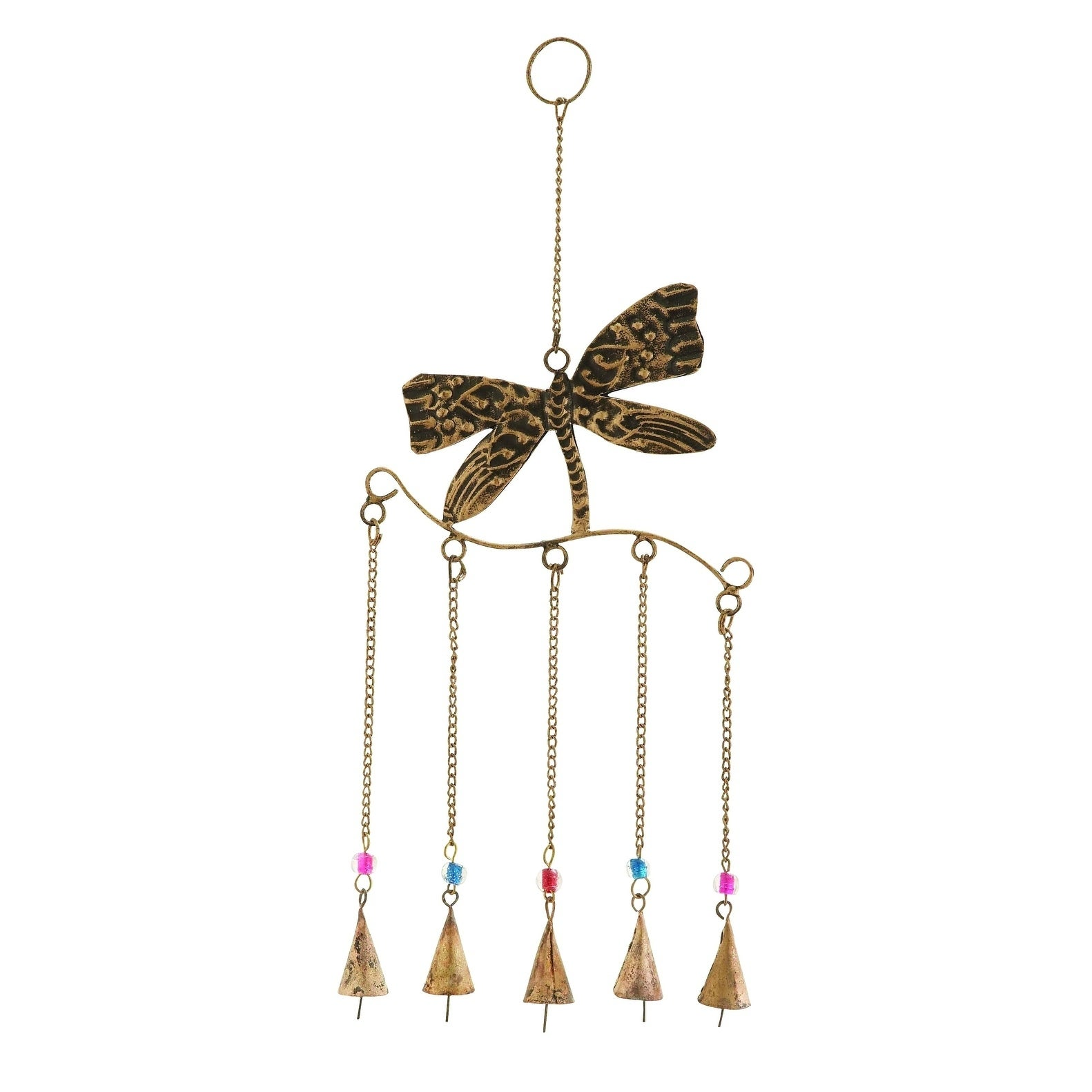 Benzara Metal Dragonfly Wind Chime Assembled With 5 Hangi...