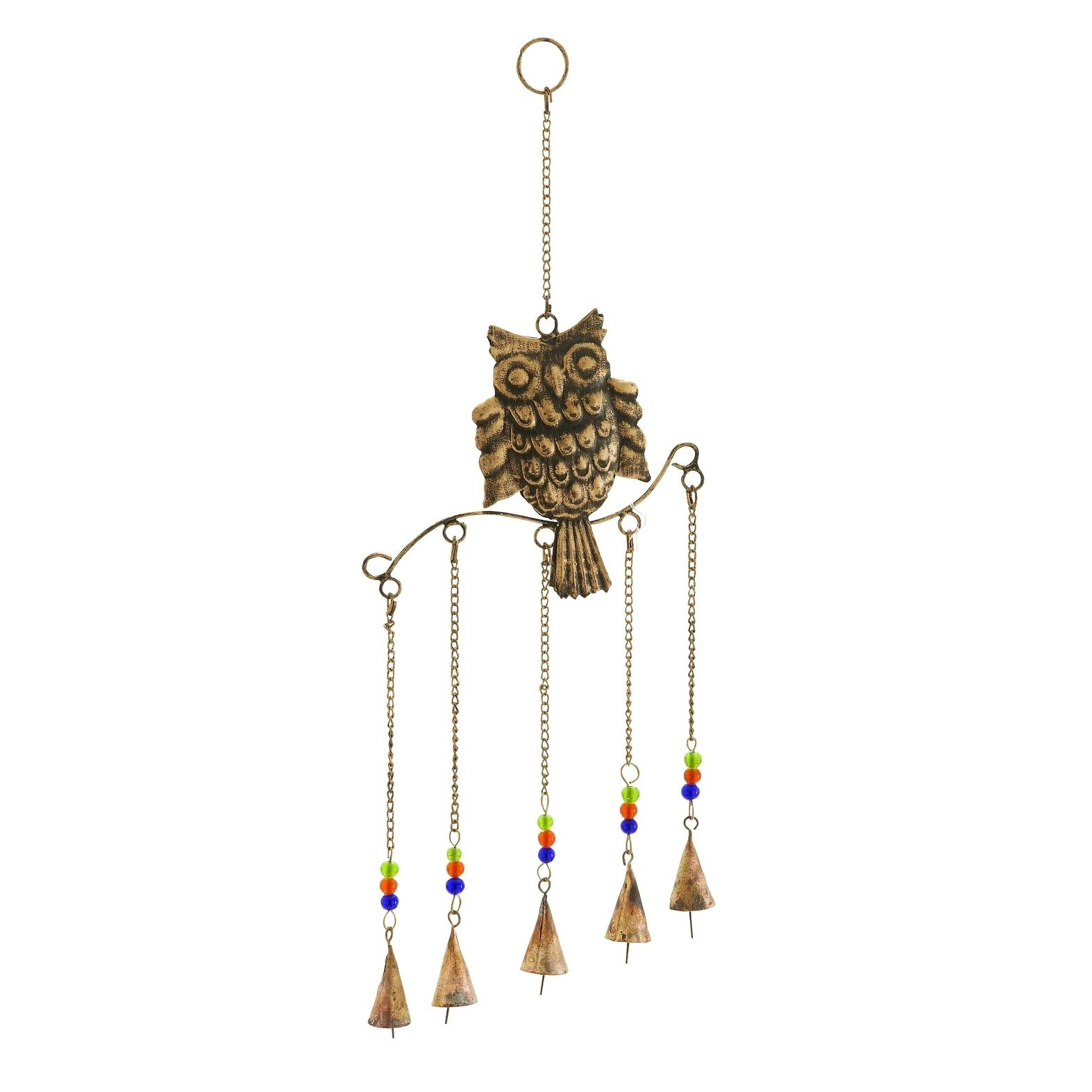Benzara Metal Owl Wind Chime Natural Style With 5 Bells I...