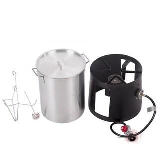 Portable Cooker with 30-Quart Outdoor Turkey Fryer Kit Aluminum Pot
