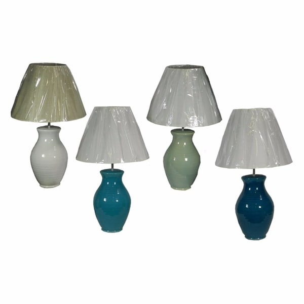 Assortments Of 4 Radiant Ceramic Table Lamp, Multicolor