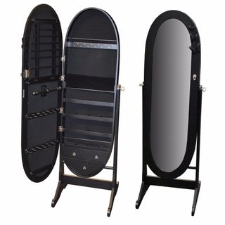 Well-design Wooden Jewelry Cabinet Stand With Mirror, Black