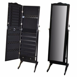 Modern Style Wooden Jewelry Cabinet With Mirror
