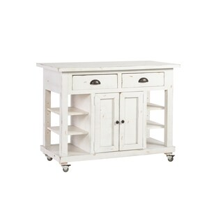 The Gray Barn Tomgallon Distressed White Wood 2-drawer 2-door Kitchen Island