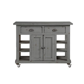 Progressive Willow Grey Wood Kitchen Island